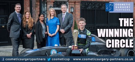 Team Cosmetic Surgery Partners pose with Champion F3 driver Toby Sowery